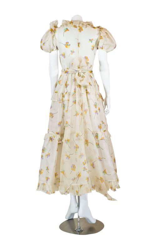 1970s Bill Blass Floral Print Silk Organza  Ruffled  Party Dress Gown 4