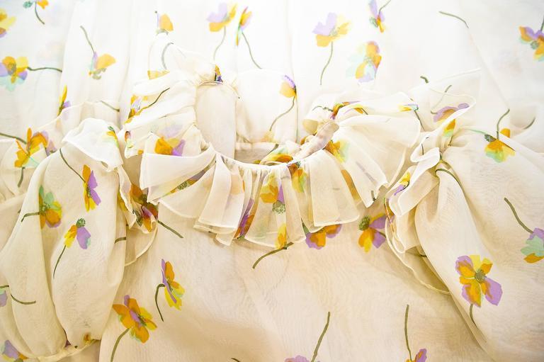1970s Bill Blass Floral Print Silk Organza  Ruffled  Party Dress Gown 5