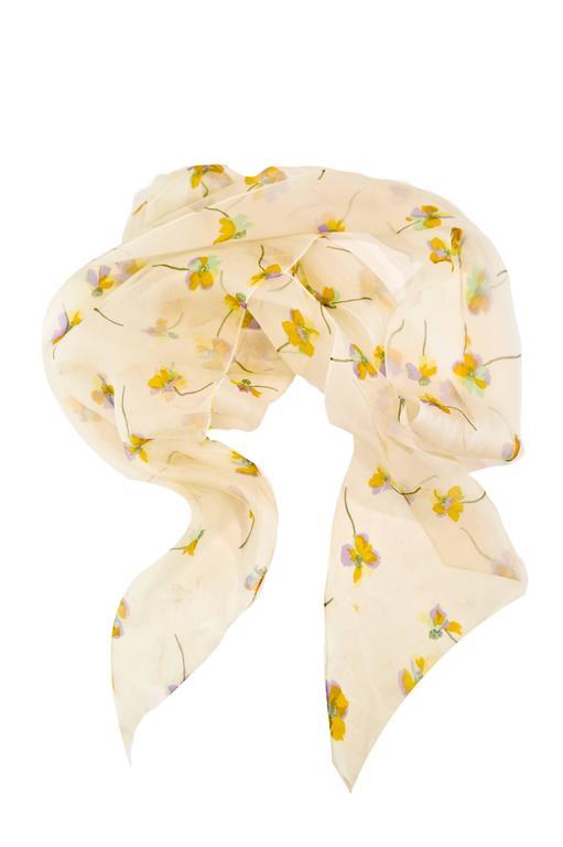 1970s Bill Blass Floral Print Silk Organza  Ruffled  Party Dress Gown 6
