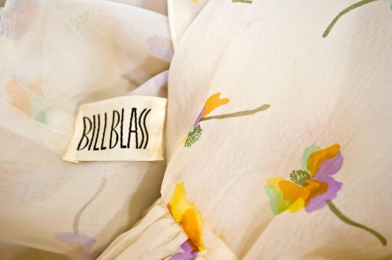 1970s Bill Blass Floral Print Silk Organza  Ruffled  Party Dress Gown 7