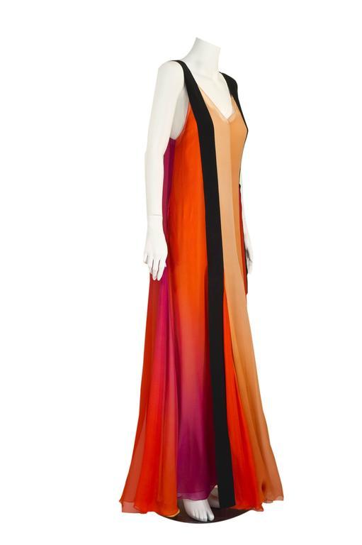 Orange  Sonia Rykiel Spring 2012 Runway Silk Chiffon Gown