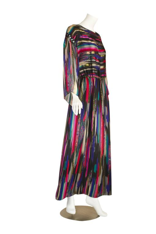 Vintage Hanae Mori  Colorful Metallic Silk Chiffon Kimono Sleeve Dress with Tags 3