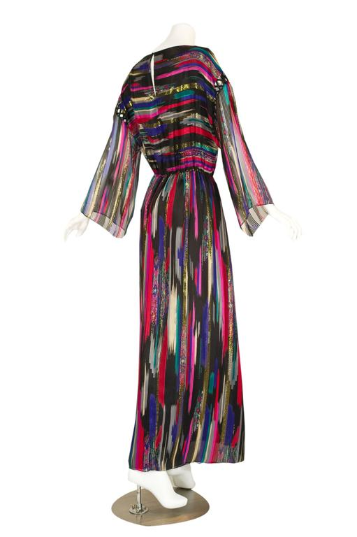 Vintage Hanae Mori  Colorful Metallic Silk Chiffon Kimono Sleeve Dress with Tags 4