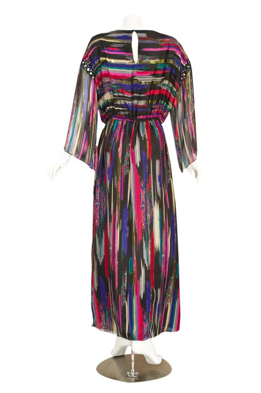 Vintage Hanae Mori  Colorful Metallic Silk Chiffon Kimono Sleeve Dress with Tags 5