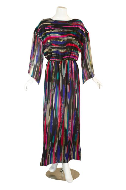 Vintage Hanae Mori  Colorful Metallic Silk Chiffon Kimono Sleeve Dress with Tags 2