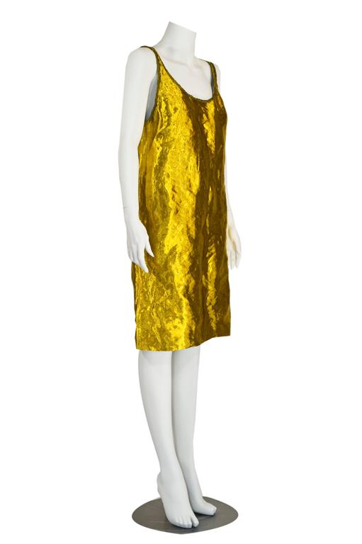Prada Spring 2009 Gold Metal and Silk Sleeveless Cocktail Dress with Tags Runway 3