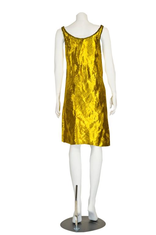 Prada Spring 2009 Gold Metal and Silk Sleeveless Cocktail Dress with Tags Runway 5