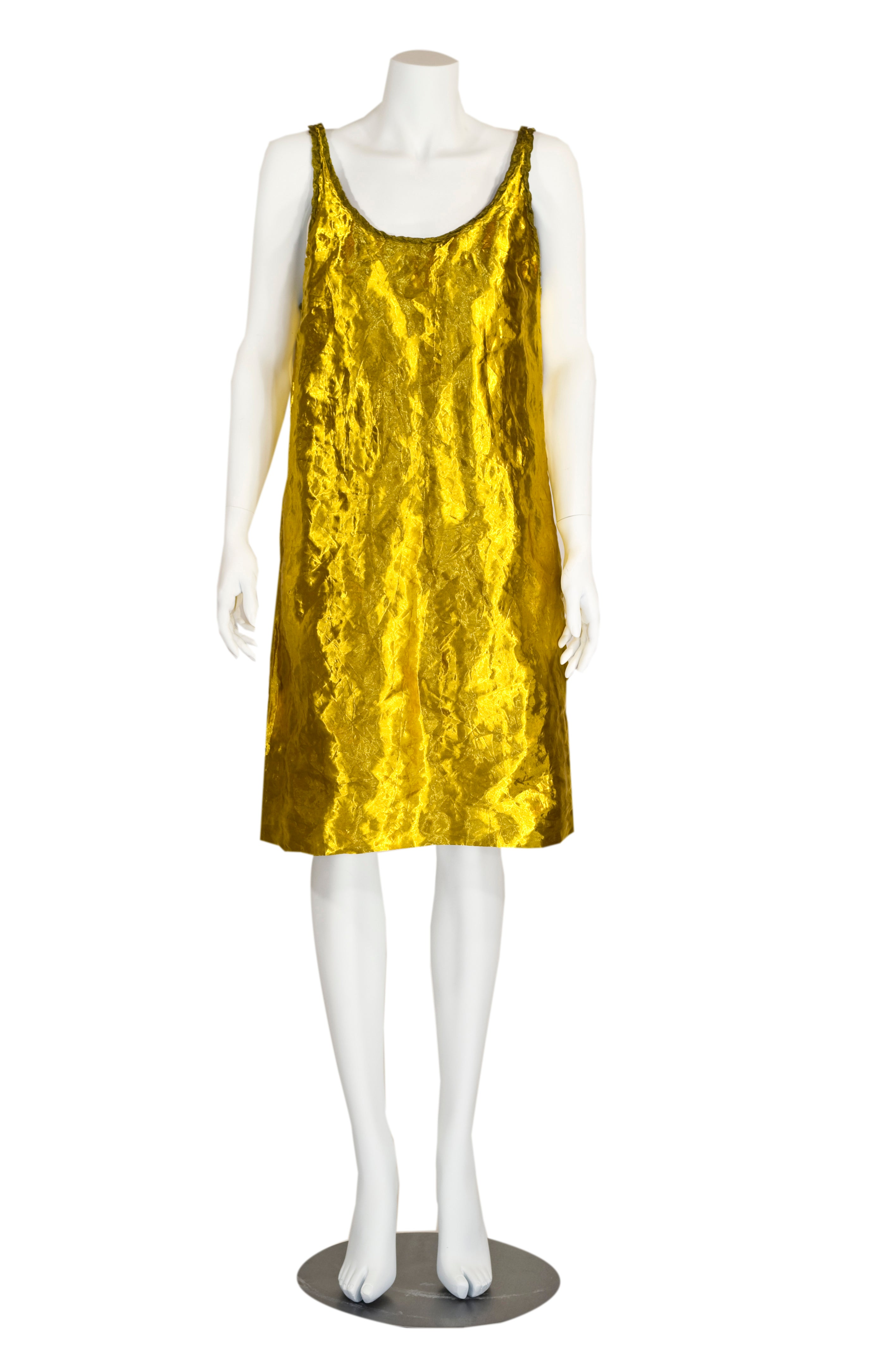 Prada Spring 2009 Gold Metal and Silk Sleeveless Cocktail Dress with ...
