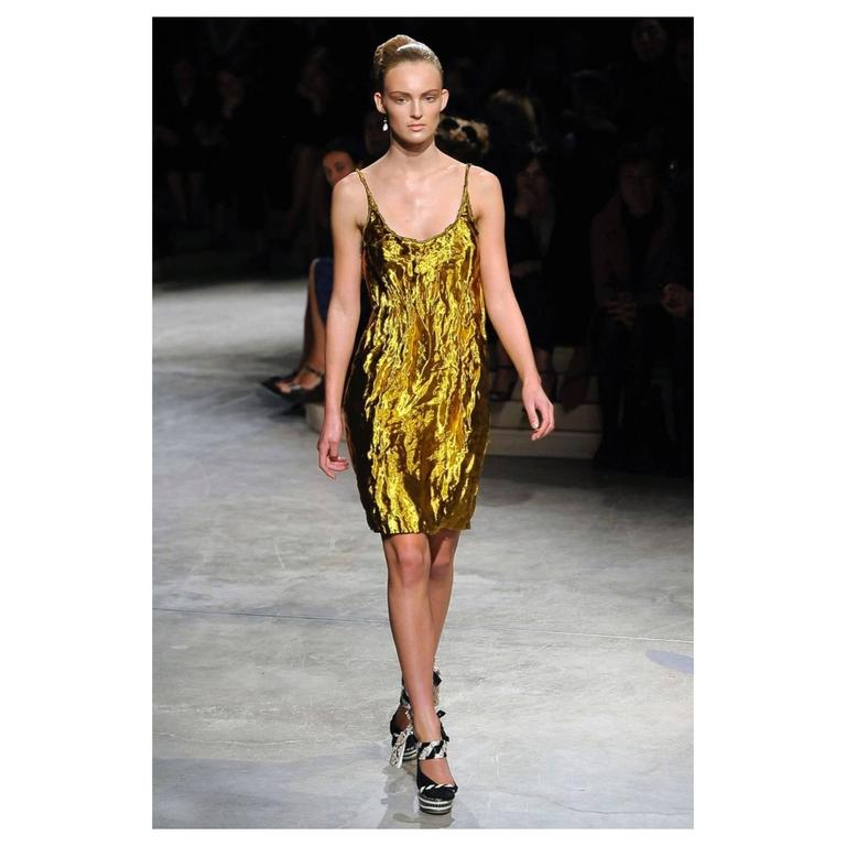 Prada Spring 2009 Gold Metal and Silk Sleeveless Cocktail Dress with Tags Runway 7