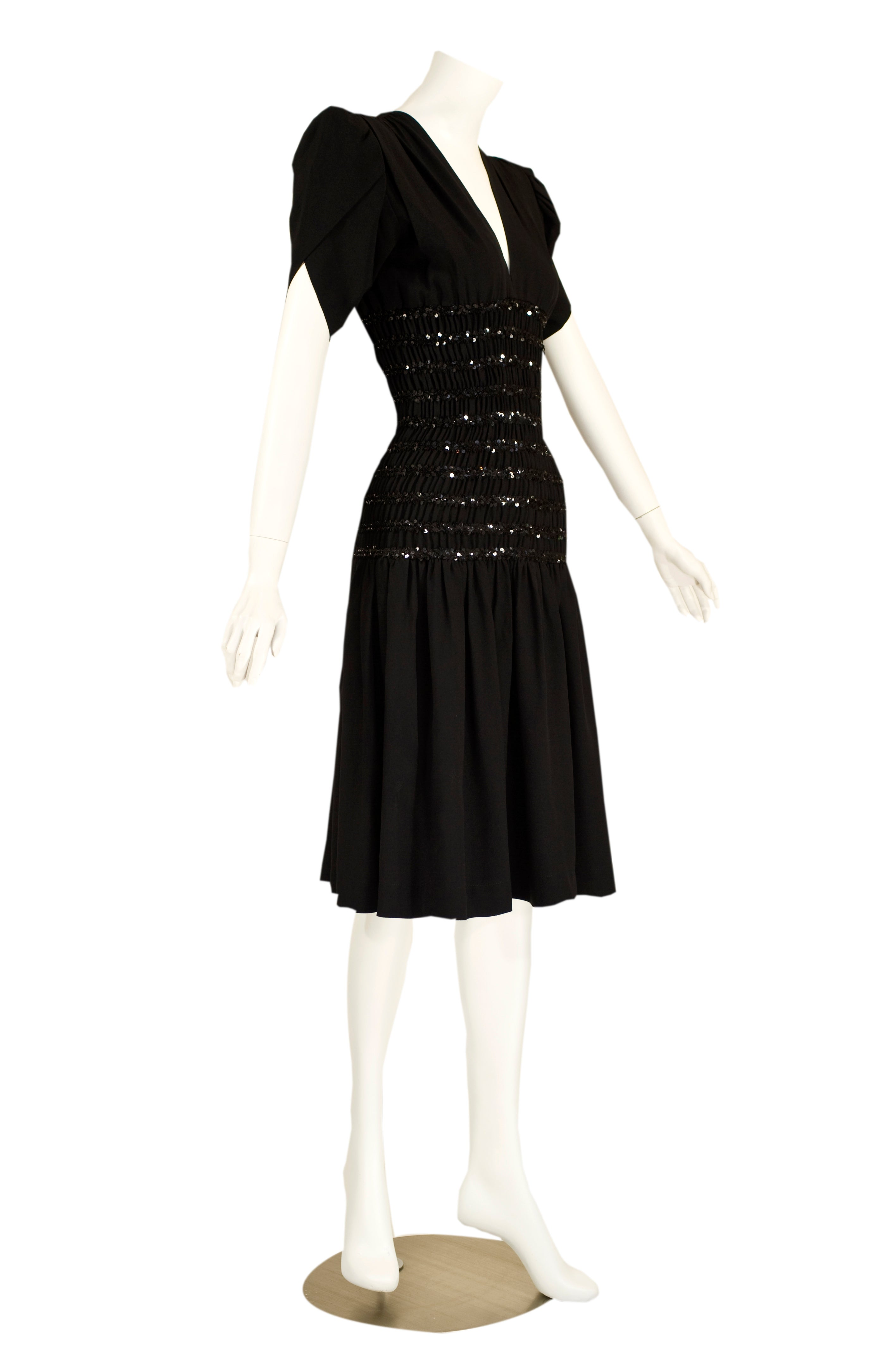 f71ee8791d9 1980s Yves Saint Laurent Black Crepe and Sequin Waist Dress Documented For  Sale at 1stdibs
