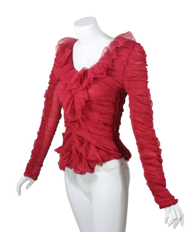 Tom Ford for Yves Saint Laurent Red Ruched Ruffled Silk Top Blouse In  Excellent Condition For