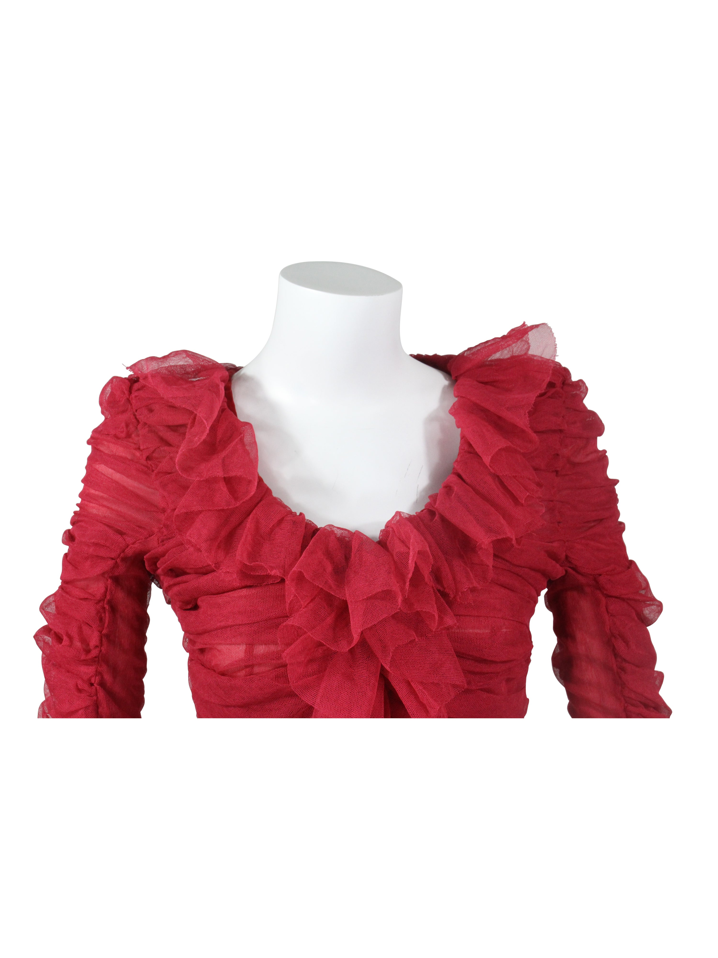ce3f73adbde2d4 Tom Ford for Yves Saint Laurent Red Ruched Ruffled Silk Top Blouse at  1stdibs