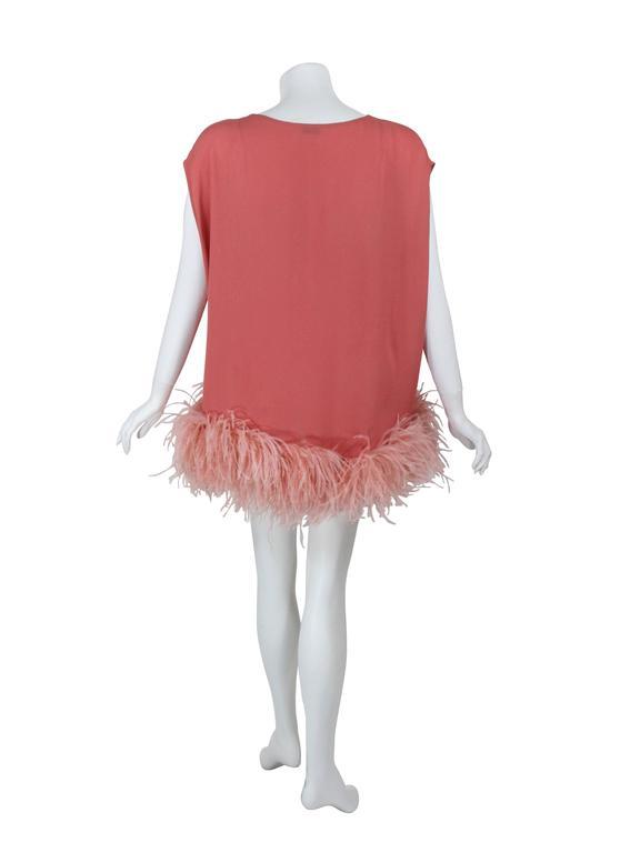 Women's Dries Van Noten Pink Crepe Feather Trim Tunic Top Fall Winter 2013/2014 Runway For Sale