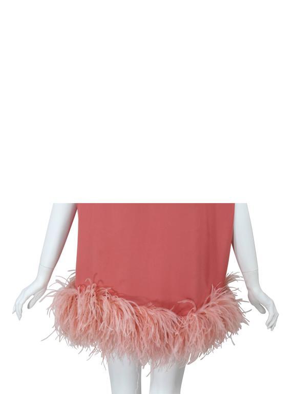 Dries Van Noten Pink Crepe Feather Trim Tunic Top Fall Winter 2013/2014 Runway For Sale 1