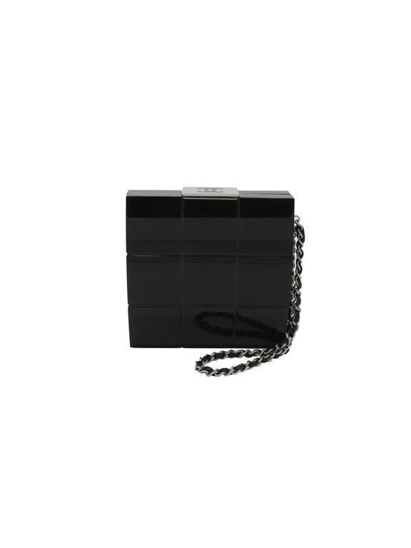 Chanel Black Perspex Lucite Minaudiere Clutch / Chain Wristlet Collectors In Excellent Condition For Sale In Boca Raton, FL