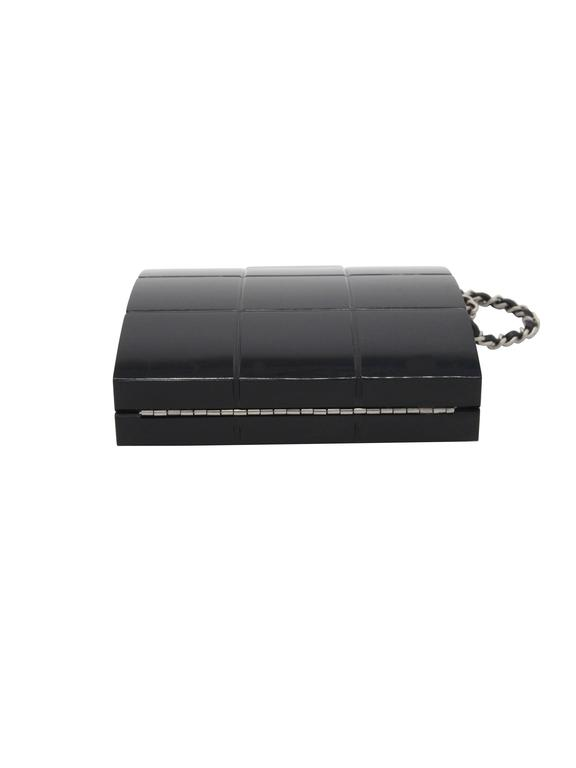 Chanel Black Perspex Lucite Minaudiere Clutch / Chain Wristlet Collectors For Sale 3