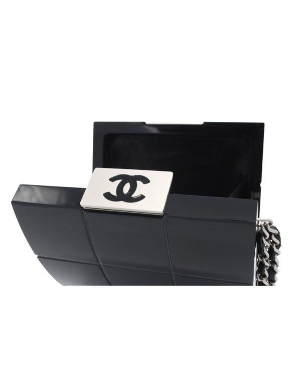 Chanel Black Perspex Lucite Minaudiere Clutch / Chain Wristlet Collectors For Sale 1