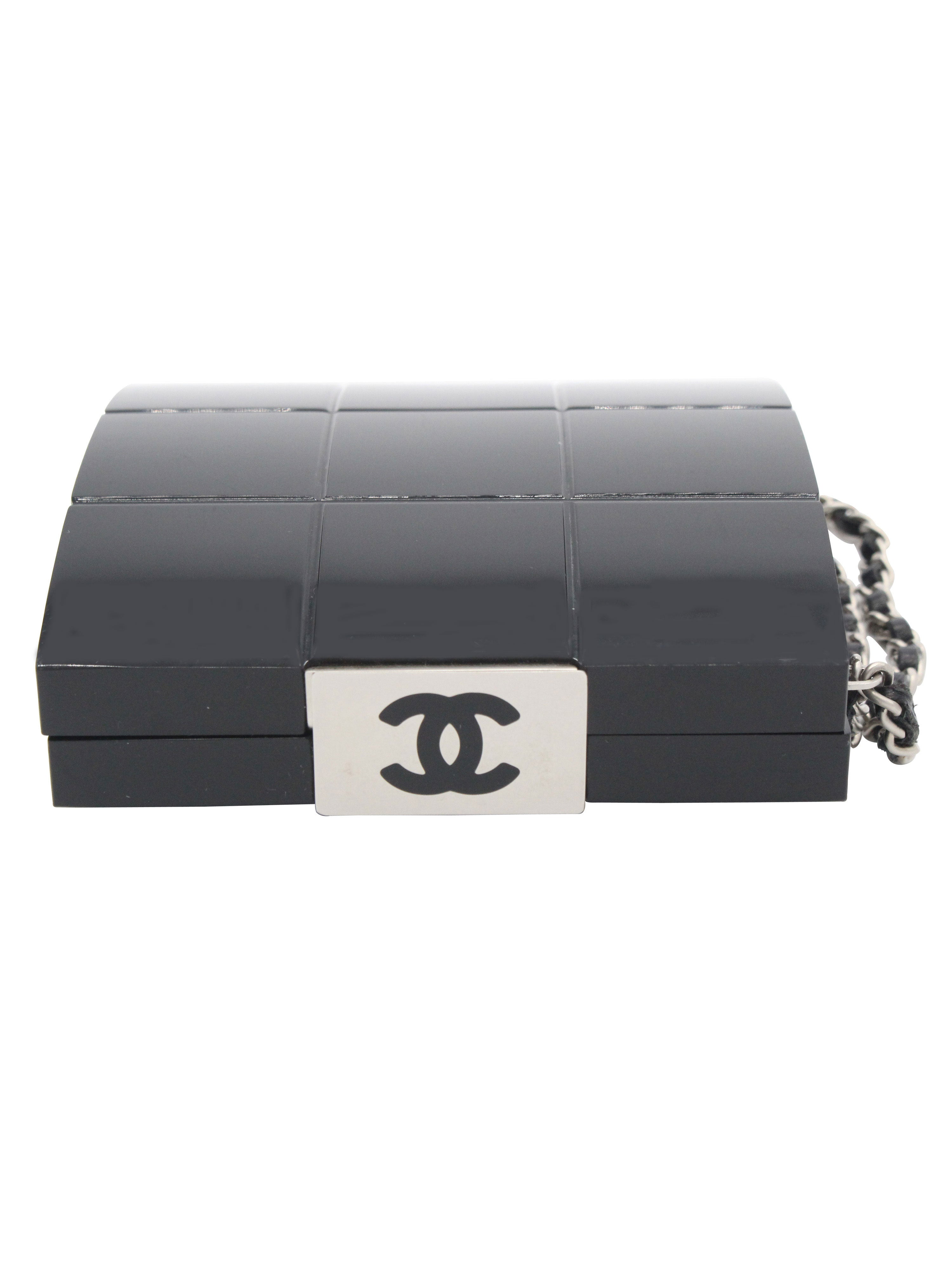 Chanel Black Perspex Lucite Minaudiere Clutch / Chain Wristlet Collectors