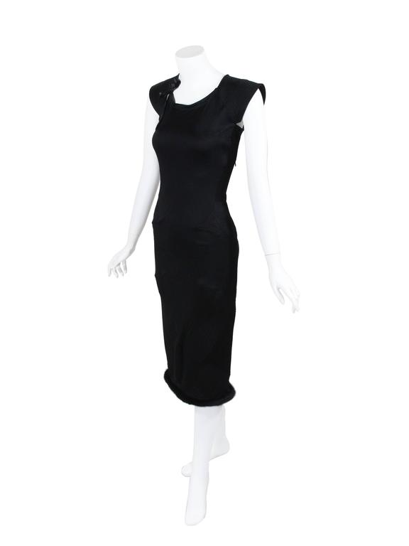 Tom Ford for Yves Saint Laurent 2004 Runway Black Silk Pagoda Dress Mink Trim 2