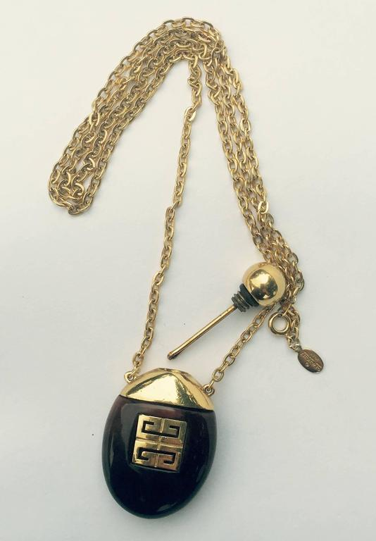 Givenchy Vintage Perfume Bottle Necklace Gold-Toned Link Chain Tortoise, 1970s  2