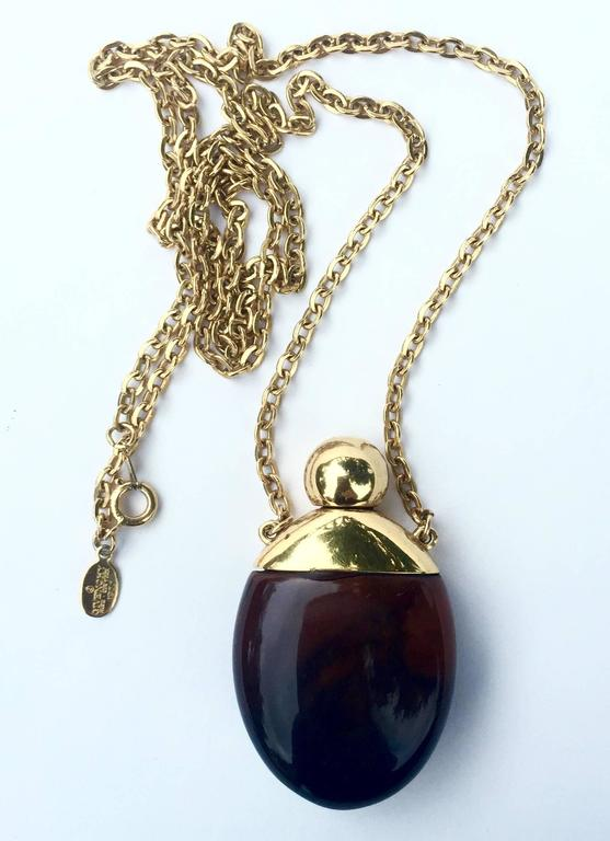 Givenchy Vintage Perfume Bottle Necklace Gold-Toned Link Chain Tortoise, 1970s  6