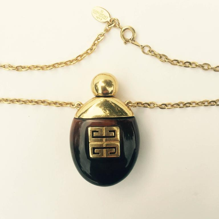 Givenchy Vintage Perfume Bottle Necklace Gold-Toned Link Chain Tortoise, 1970s  3