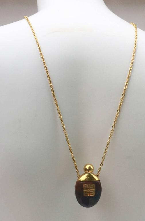 Givenchy Vintage Perfume Bottle Necklace Gold-Toned Link Chain Tortoise, 1970s  8