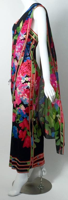 1970s Leonard Paris Strapless Floral Silk Jersey Tube