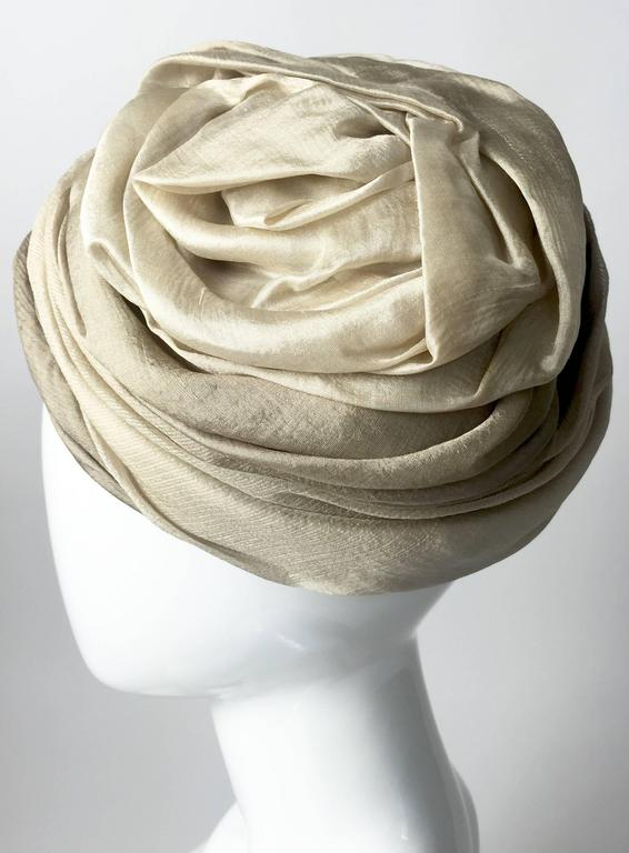 Women's  1950s Christian Dior Draped  and Pleated Silk  Ombre Beige Turban Hat  For Sale