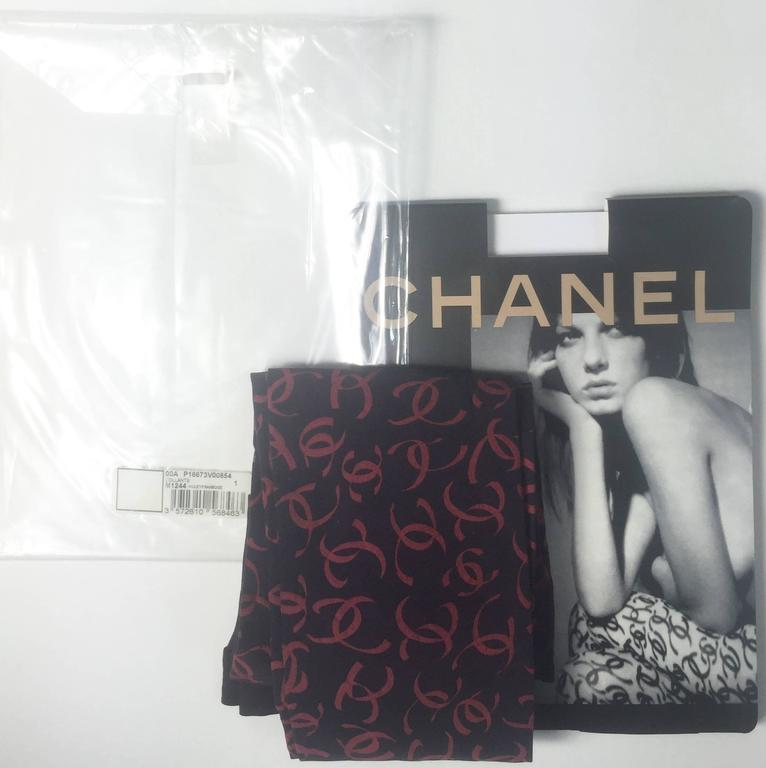 2000 Chanel CC Logo Tights New in Package as seen in Vogue Magazine For Sale 2
