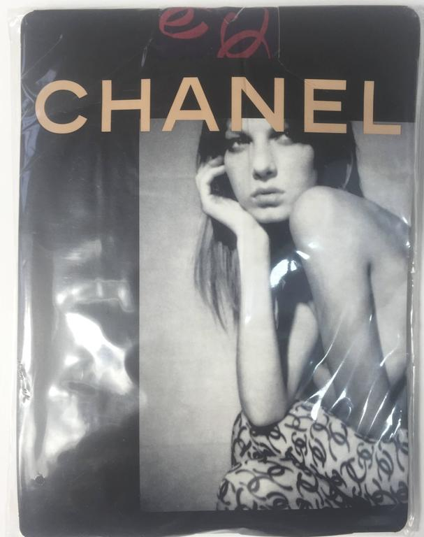 2000 Chanel CC Logo Tights New in Package as seen in Vogue Magazine For Sale 1