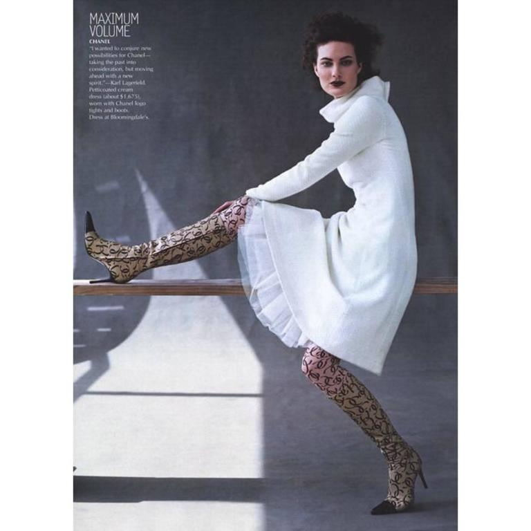 Black 2000 Chanel CC Logo Tights New in Package as seen in Vogue Magazine For Sale