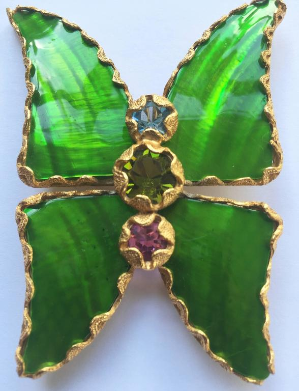 61a31b51848 Women's Vintage Yves Saint Laurent Green Enamel and Gold Butterfly Pin YSL  For Sale