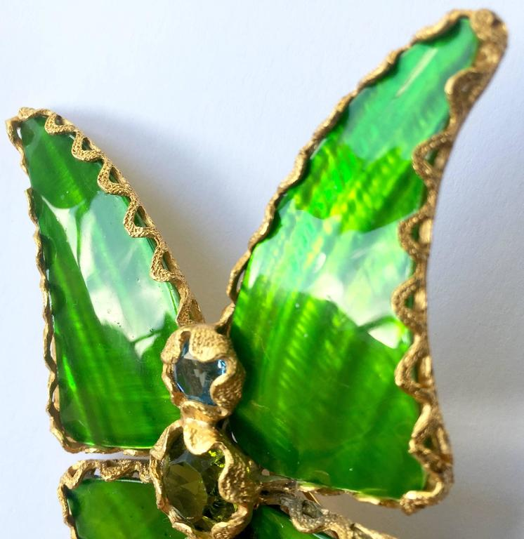 9dfce3a8cbc Art Deco Vintage Yves Saint Laurent Green Enamel and Gold Butterfly Pin YSL  For Sale