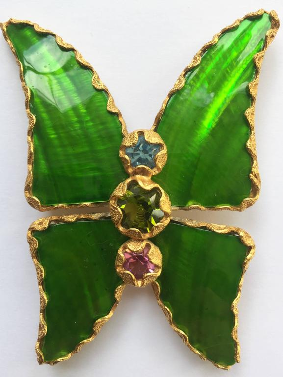 Vintage Yves Saint Laurent Green Enamel And Gold Butterfly