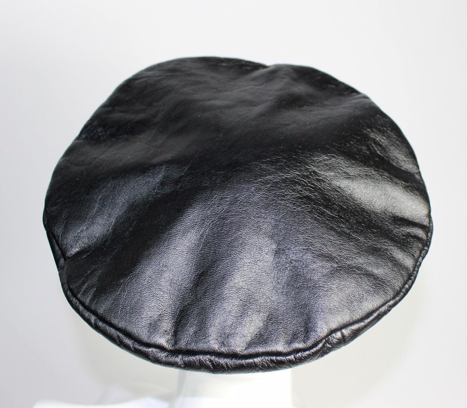 ff8086f563152 Vintage Yves Saint Laurent Black Leather Beret Hat at 1stdibs