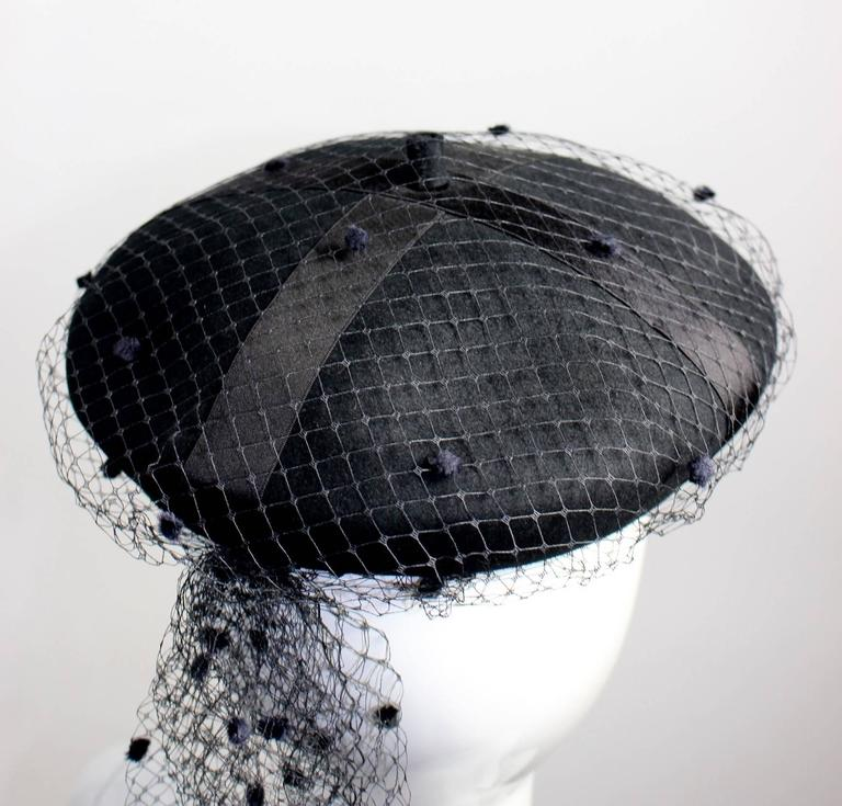 Vintage Chanel Black Wool Beret Wedding Evening Cocktail Veil Hat Documented 5