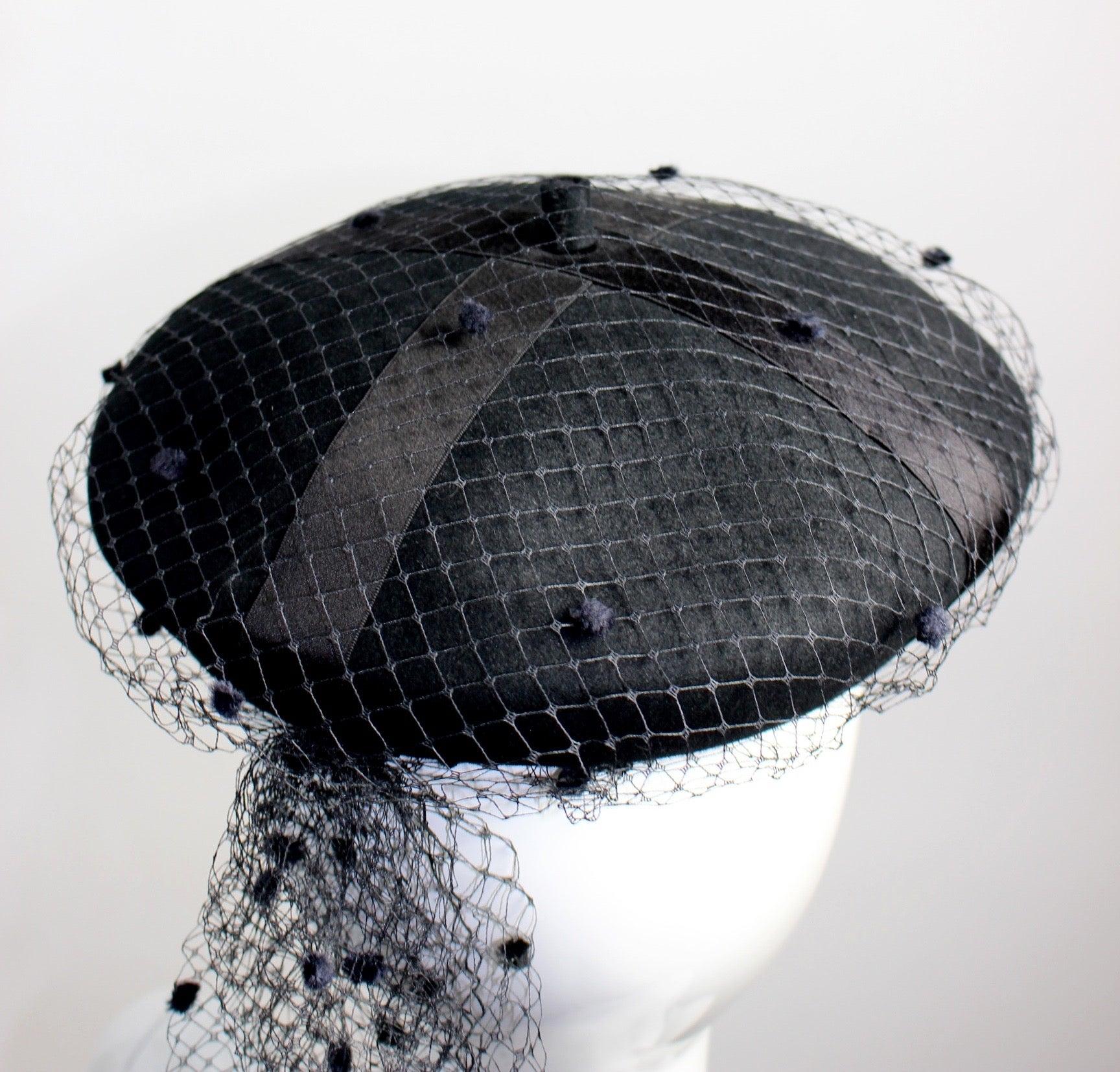 7961b982 Rare Chanel Vintage Black Wool Beret Wedding Evening Veil Hat Documented at  1stdibs