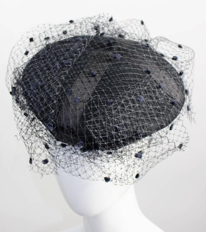 Vintage Chanel Black Wool Beret Wedding Evening Cocktail Veil Hat Documented 6