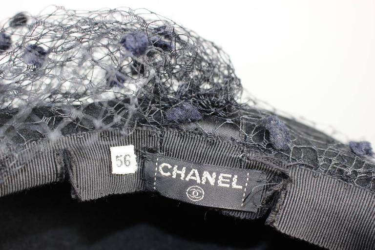 Vintage Chanel Black Wool Beret Wedding Evening Cocktail Veil Hat Documented 9