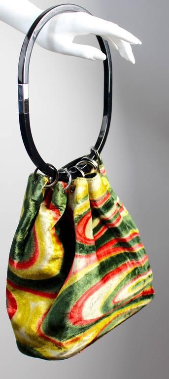 Gucci by Tom Ford FW1999 Runway Psychedelic Swirl Silk Velvet Hoop Bucket Bag 3