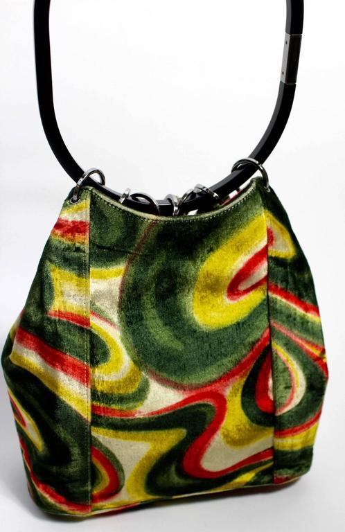 Gucci by Tom Ford FW1999 Runway Psychedelic Swirl Silk Velvet Hoop Bucket Bag 5