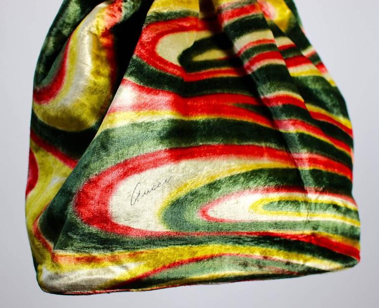 Gucci by Tom Ford FW1999 Runway Psychedelic Swirl Silk Velvet Hoop Bucket Bag 6