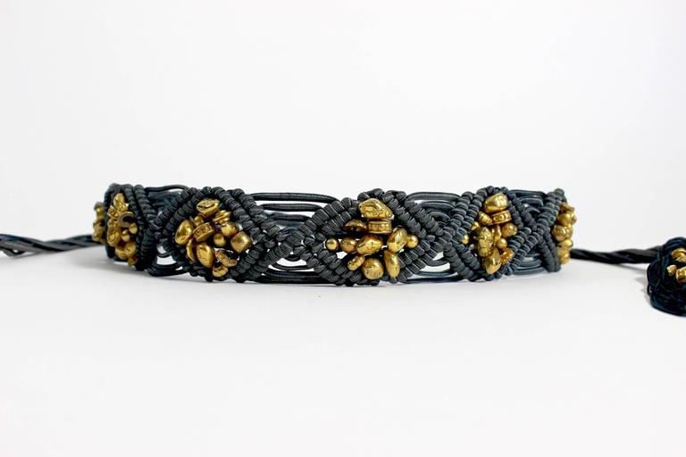 Yves Saint Laurent YSL Vintage Passementerie Gold Nugget Beads Tassel Belt  8