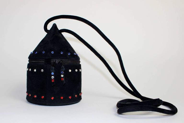1980s Maud Frizon Sculptural Black Suede Jeweled Minaudiere Shoulder Bag For Sale 5