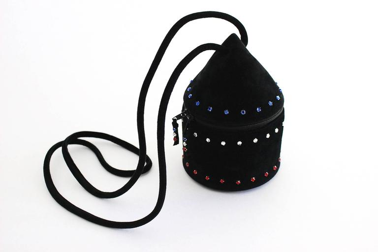 1980s Maud Frizon Sculptural Black Suede Jeweled Minaudiere Shoulder Bag In Excellent Condition For Sale In Boca Raton, FL