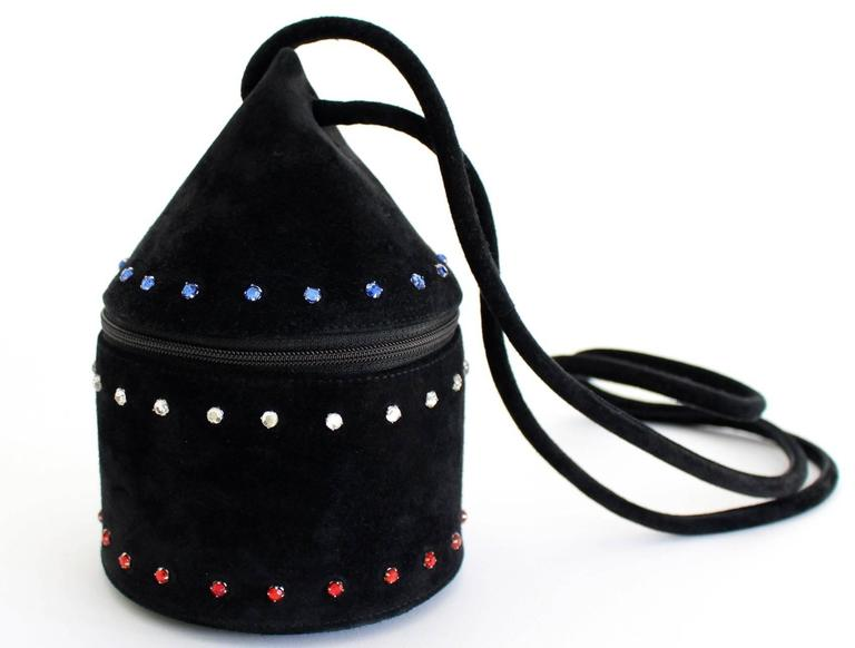 Women's 1980s Maud Frizon Sculptural Black Suede Jeweled Minaudiere Shoulder Bag For Sale