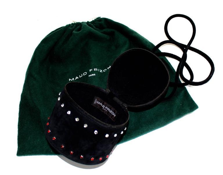 1980s Maud Frizon Sculptural Black Suede Jeweled Minaudiere Shoulder Bag For Sale 3