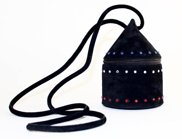 1980s Maud Frizon Sculptural Black Suede Jeweled Minaudiere Shoulder Bag For Sale 2