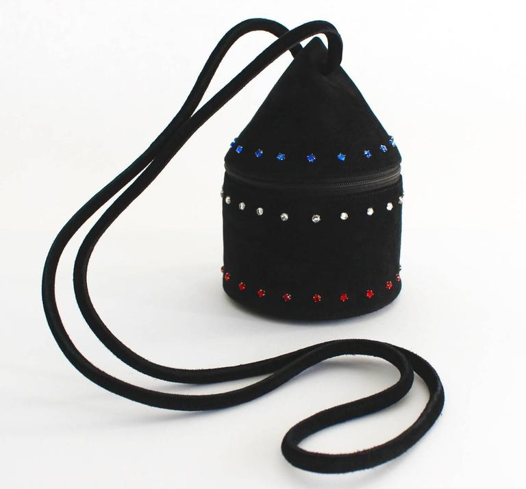 1980s Maud Frizon Sculptural Black Suede Jeweled Minaudiere Shoulder Bag For Sale 1